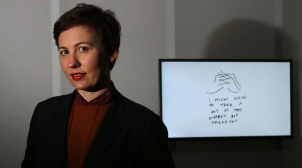 Agatha Gothe-Snape at the Powerhouse Museum as the <i>This Is A Voice</i> exhibition is set up.