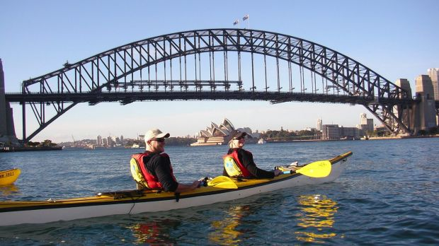 Kayaking on Sydney Harbour for $150 is an experience rated five-star on Airbnb.