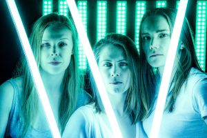 Lucy Heffernan, Zoe Trilsbach and Ella Prince in 4.48 Psychosis at the Old Fitz Theatre.