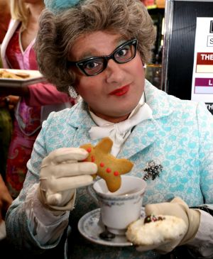Aunty Mavis at the bake off, which is always a day of high camp cooking, drag queens and disco.