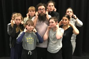 The Canberra Youth Theatre ensemble in Poem Every Day: from left, Isha Menon, Amber Spooner, Kitty Malam, Mia Tuco, Aram ...