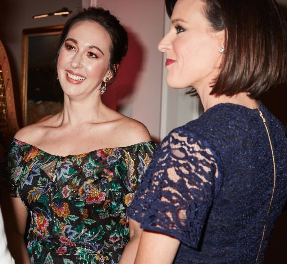 Pink Hope founder Krystal Barter (L) and Channel Ten news' Natarsha Belling (R) mingle at a dinner at The Langham, ...