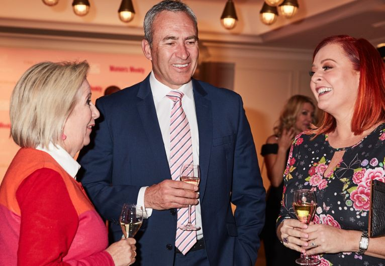 Channel 7 sports journalist Mark Beretta sipping champagne with social commentator Jane Caro (L) and TV regular Shelly ...