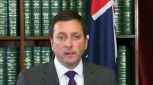 Matthew Guy during his hastily arranged press conference on Tuesday afternoon.