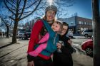 Canberra's 2017 Winter fashion, on the streets. Emma Woods of Turner with children Edward,9, Fiddian and Anika, 7 ...