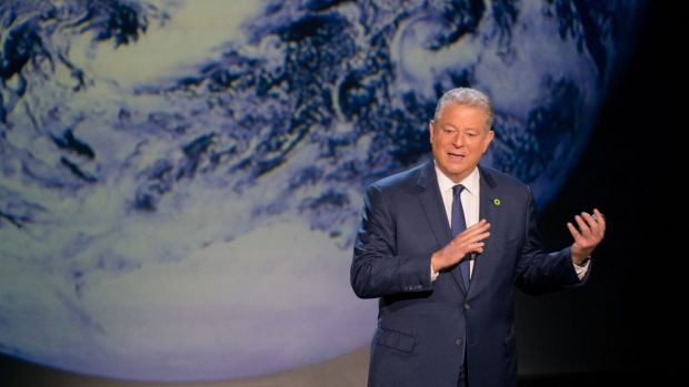 Al Gore giving his updated presentation in An Inconvenient Sequel: Truth To Power.