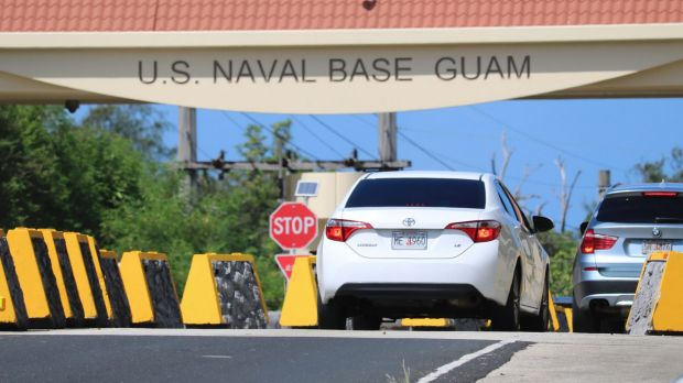 Cars enter Naval Base Guam near Hagatna Guam