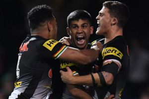 Hold up: Tyrone Peachey (centre) has a way to go at the Panthers if coach Anthony Griffin has his way.