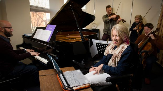 Jess Irwin uses her laptop-based instrument, which has not yet got a name, as she rehearses with members of the ...
