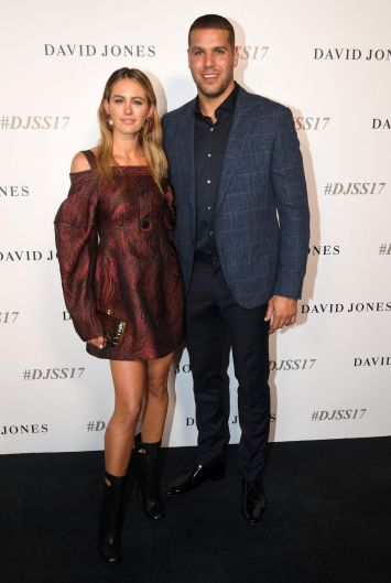 "Ahead of stomping the David Jones runway, Jesinta Franklin with her husband, Sydney Swans star, Lance ""Buddy"" Franklin."