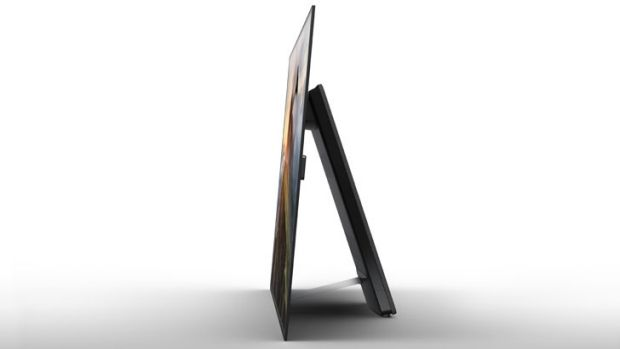 The A1's rear stand gives the television a much larger footprint than your typical television with a stand below the screen.
