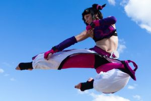Jade Martens gets her kicks as the character Juri Han from the video game series <i>A Street Fighter</i>.