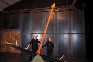 Tim Humphrey and Madeleine Flynn with one of their seesaws.