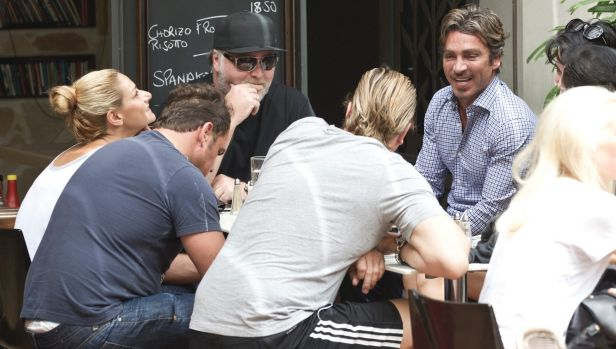 Kyle Sandilands with John Ibrahim and Ryan Watsford in Kings Cross in February 2014.
