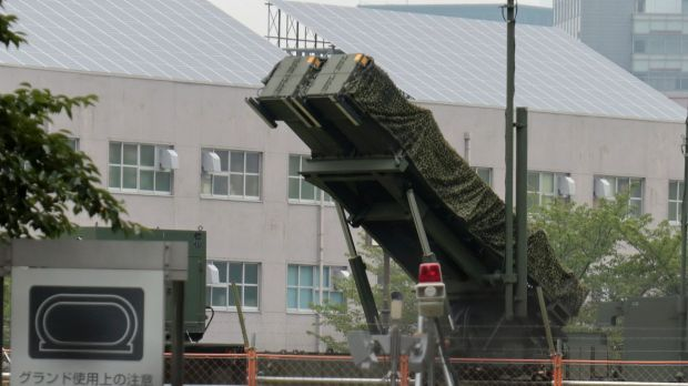 A PAC-3 Patriot missile unit deployed in the compound of the Defense Ministry in Tokyo, after North Korea announced a ...
