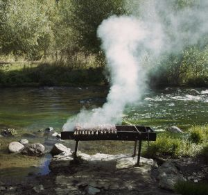 A barbecue by the river in Armenia from the film, 'Barbecue'.