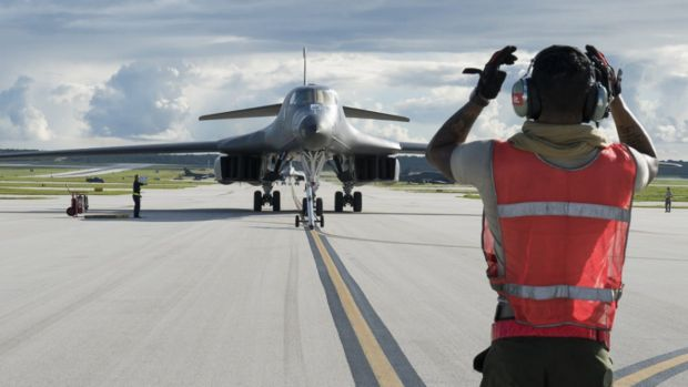 A US Air Force B-1B Lancer arrives at Andersen Air Force Base in Guam.