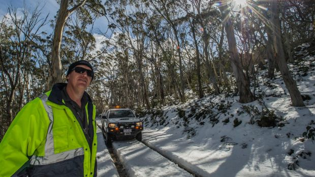 Transport Canberra and City Services Project Officer Adam Melville looks after icy or snow affected roads in the Namadgi ...