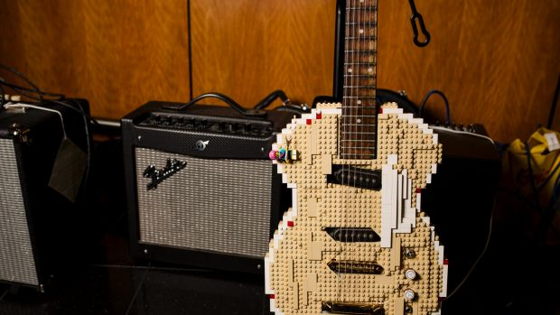 A guitar made from Lego - just one of the amazing creations made by volunteers from across Australia and New Zealand who ...