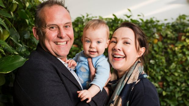 Paul and Sarah Hay, whose baby Oliver was delivered via IVF last November.