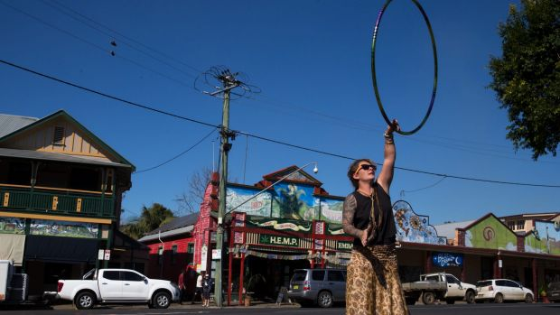 Becc Jakupec doing some hoop dancing in Nimbin.