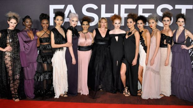 Megan Cannings, centre, with her 2016 Fashfest collection.