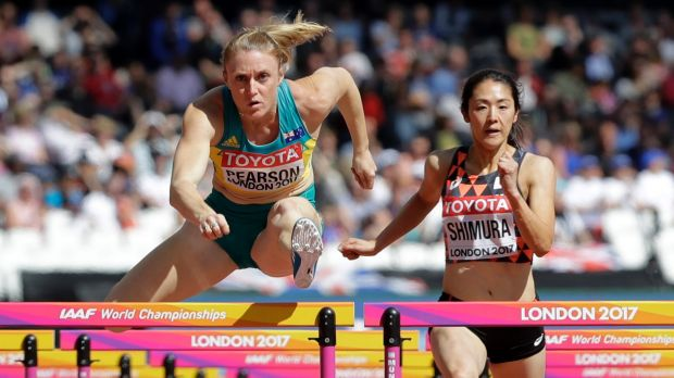 Sally Pearson wins her 100m hurdles first round heat in London