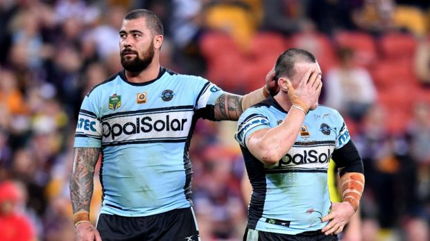 Shark net: Paul Gallen was dejected after losing in his 300th appearance for the Cronulla Sharks.