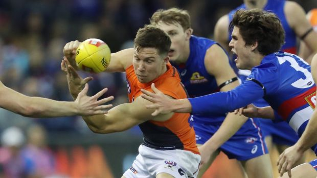 Eye of the storm – again: Greater Western Sydney's Toby Greene.