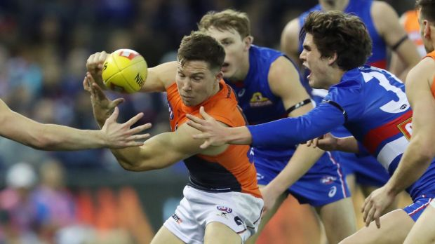 GWS Giants forward Toby Greene during Friday night's round 21 clash against the Bulldogs.