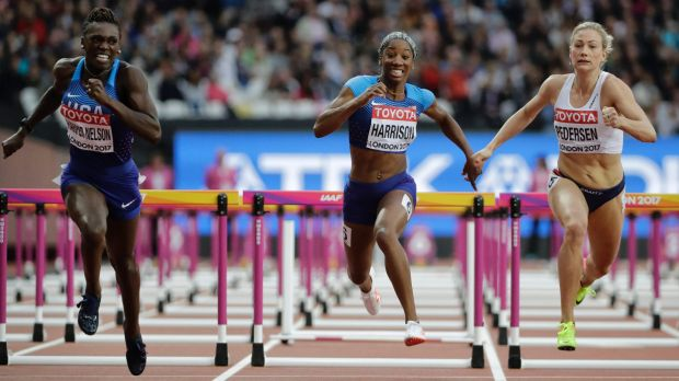 American Kendra Harrison (centre) almost did not make the hurdles final.