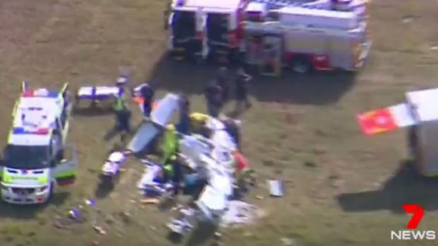 The pilot was trapped for more than an hour before being freed from the wreckage.
