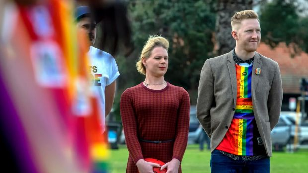 Emily Rowe and LGBTQI advocate and former footballer Jason Ball.