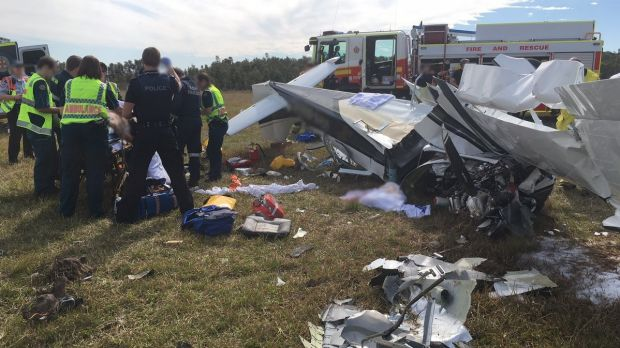 Four people were injured, one critically, after the light plane crashed while trying to land at Caloundra Airport.