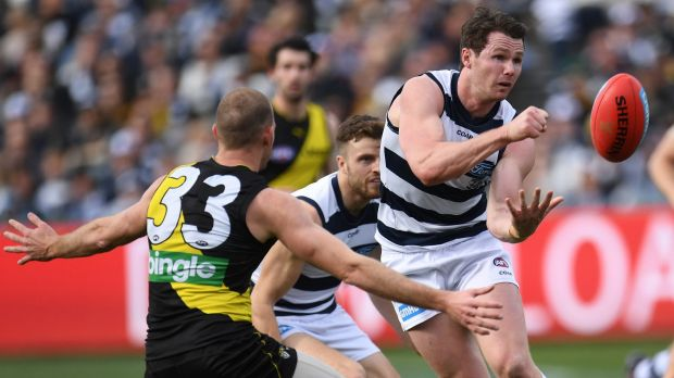 In the thick of it: Geelong's Patrick Dangerfield.