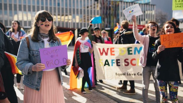 Supporters of the Safe Schools program were loud and proud in Civic Square.