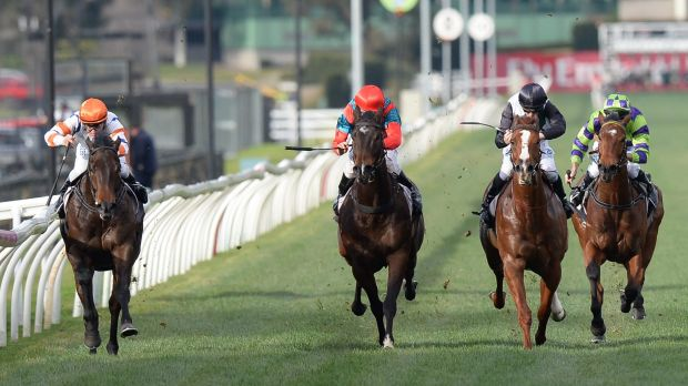 Jockey Luke Currie with Hey Doc (left) on his way winning Race 7 the Aurie's Star Handicap during Racing Rewards Raceday ...