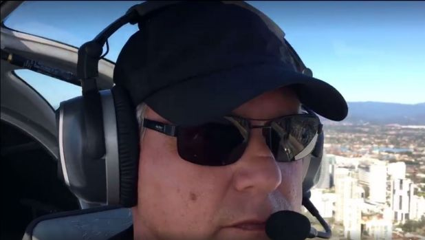 Ben Berg flies his light plane over the Gold Coast a month before it crashed at Caloundra Airport.