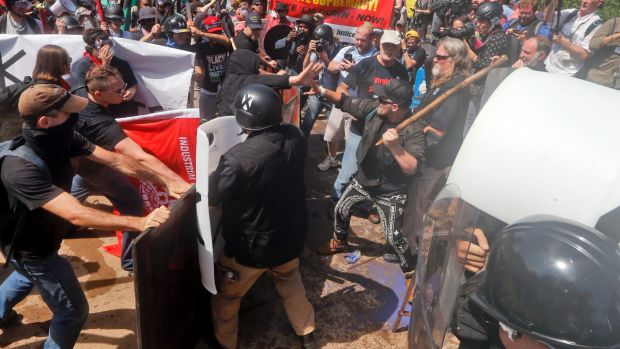 White nationalist demonstrators clash with counter demonstrators in Charlottesville.