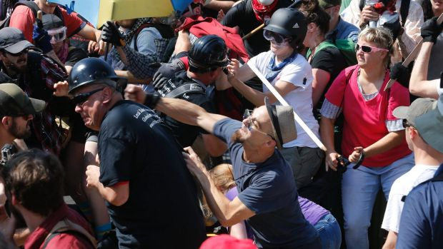 The protest at Lee Park in Charlottesville, Virginia turned violent.