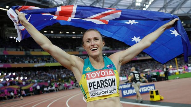 Australia's Sally Pearson celebrates after winning the gold medal in the women's 100m hurdles final.
