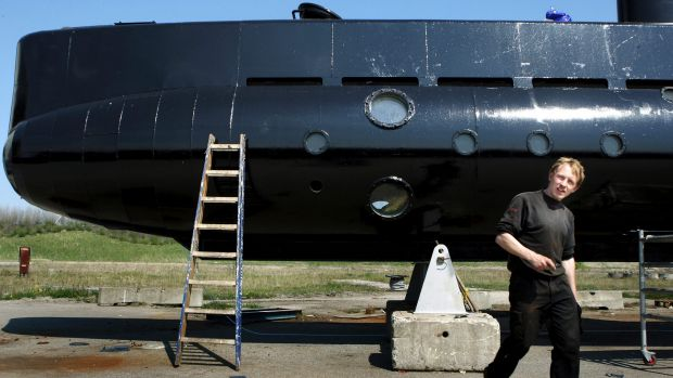 Peter Madsen with his submarine, the UC3 Nautilus, in 2008.