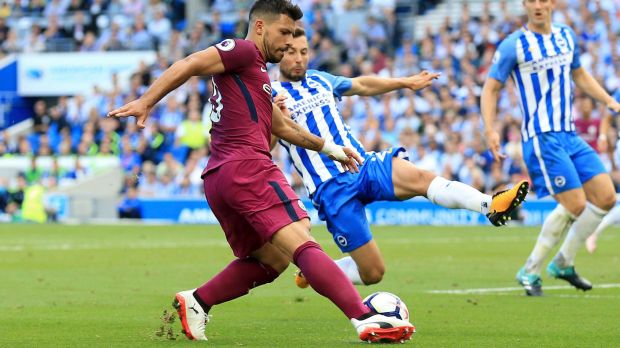 Hot start: Mat Ryan's Brighton & Hove Albion had it tough against high flyers Manchester City.