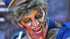 A performer from the Hollywood Horrors haunted house at the 2017 Royal Queensland Show.