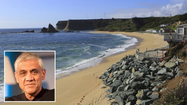 The rocky outcrop called Shark Tooth or the Witch's Hat overlooking Martins Beach, which has been blocked by billionaire ...