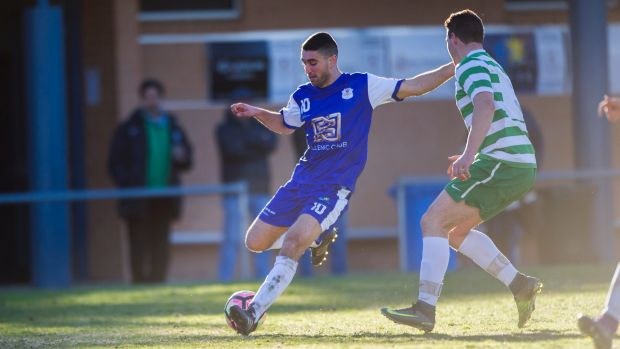 Tuggeranong United v Canberra Olympic at O'Connor Enclosed. Olympic's Stephen Domenici