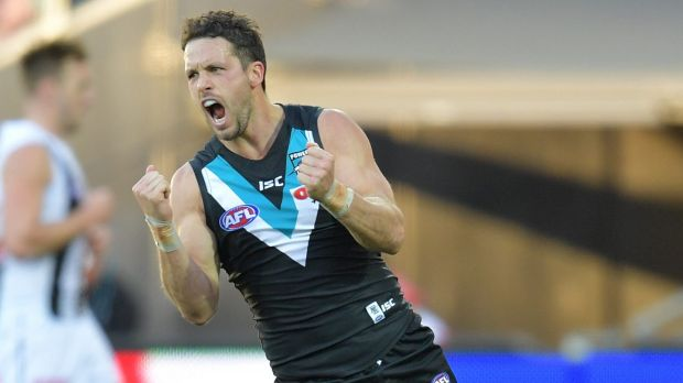 Port in a storm: Power's Travis Boak pumped after scoring a major.