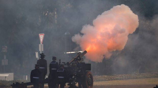 Artillery fires during a ceremonial welcome for the Prime Minister of the Solomon Islands Manasseh Damukana Sogavare