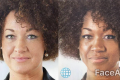 Rachel Dolezal's face before and after using FaceApp.