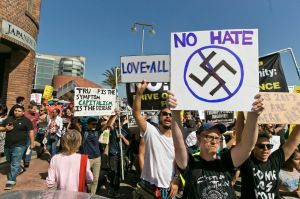 Demonstrators in Los Angeles decry hatred and racism.